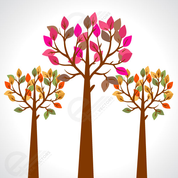 Colorful Spring trees  free vector
