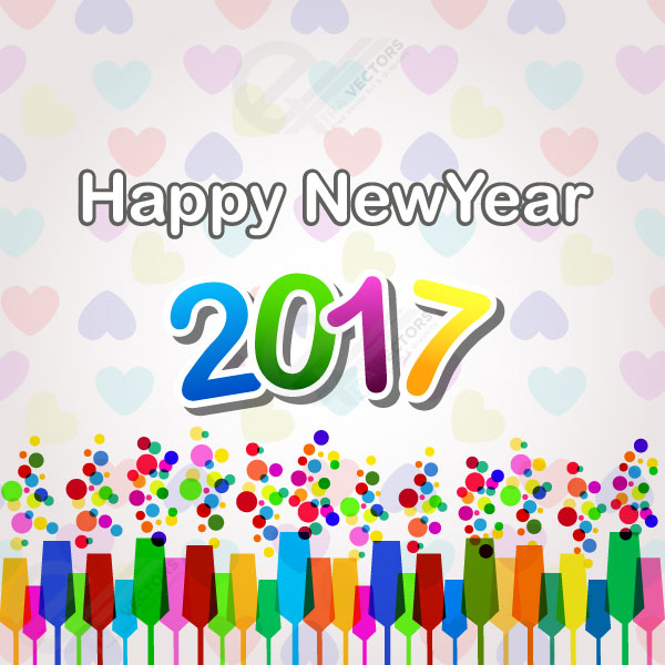 Free  vector 2017 Happy New Year with heart and balloon background.