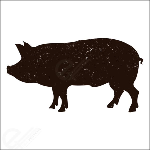 Free vector illustration of pig silhouette