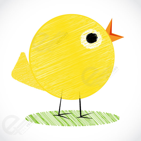 little yellow chick Vector