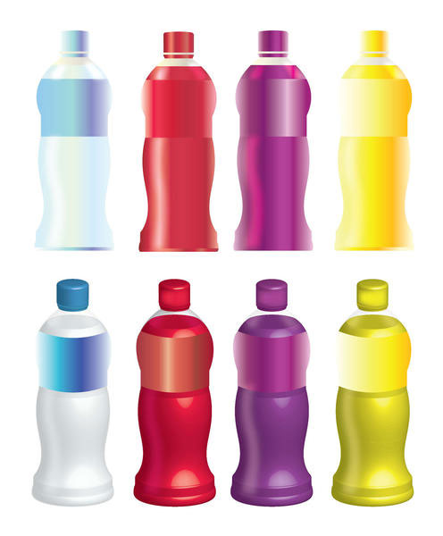 8 Juices Bottle Vector Mock Up Set 1 illustration