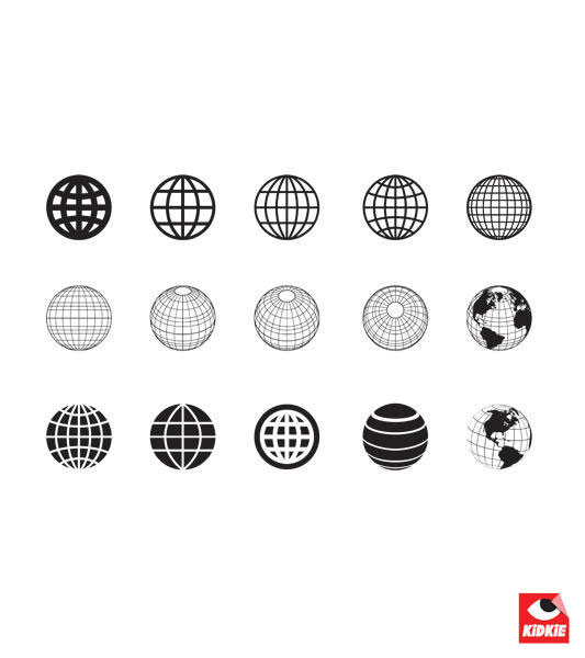 A Collection of Clean Style Globe Vectors illustration