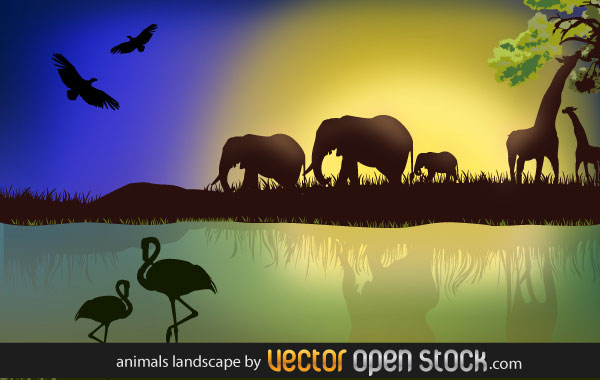 African Landscape with animals illustration