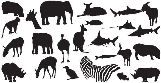 Animals Free Vector Silhouettes illustration