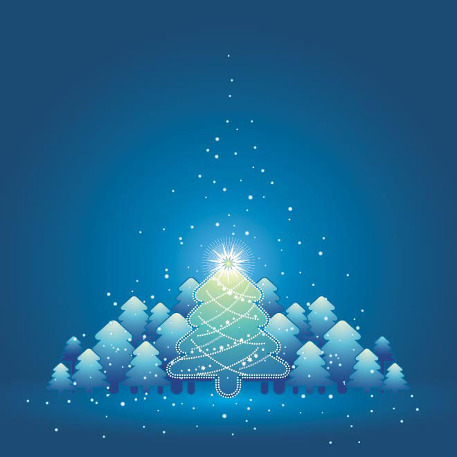 Beautiful glossy Christmas Tree with star background Vector illustration