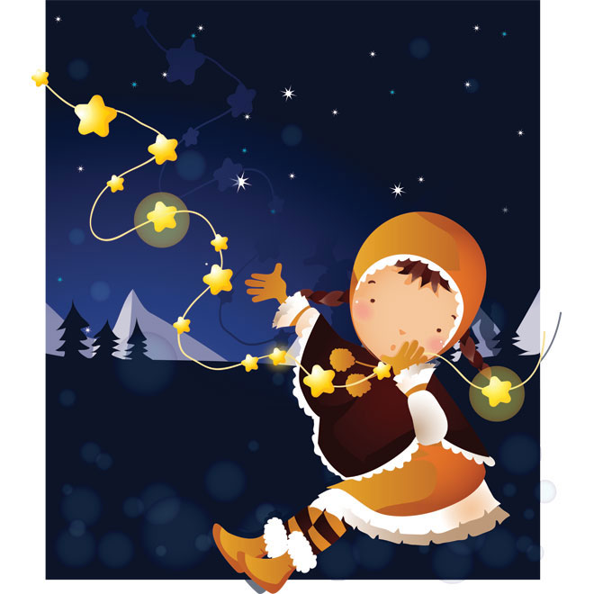 Cute girl in orange dress winter night Vector illustration