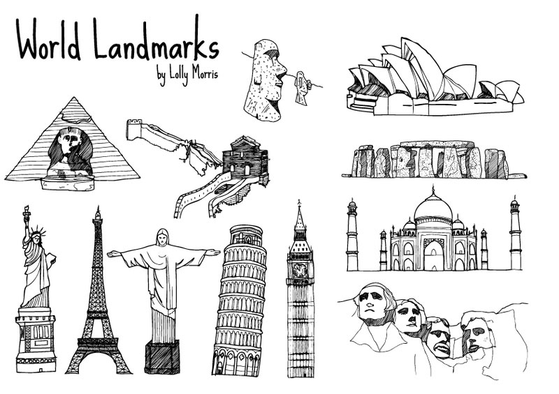 Free Hand Drawn World Landmark Vectors illustration