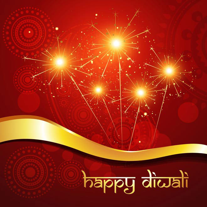 Free Vector Beautiful Indian Happy Diwali festival with fireworks and floral art in background Template illustration