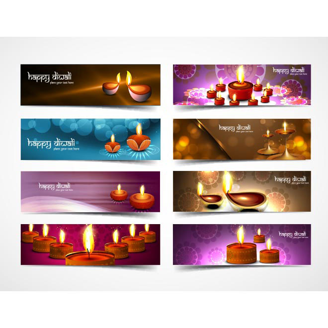 Free Vector Beautiful set of 8 Different Happy Diwali Banner Template illustration