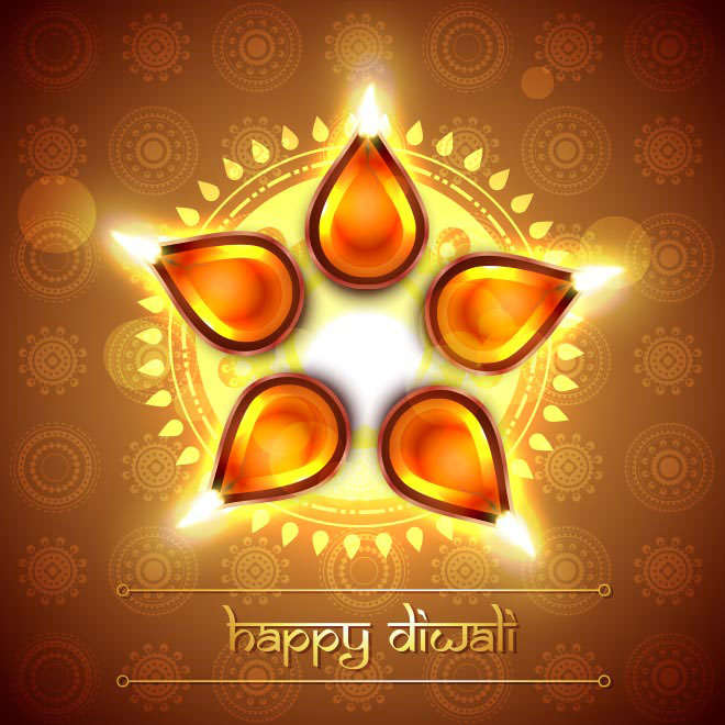 Free Vector Happy Diwali Greeting card design illustration