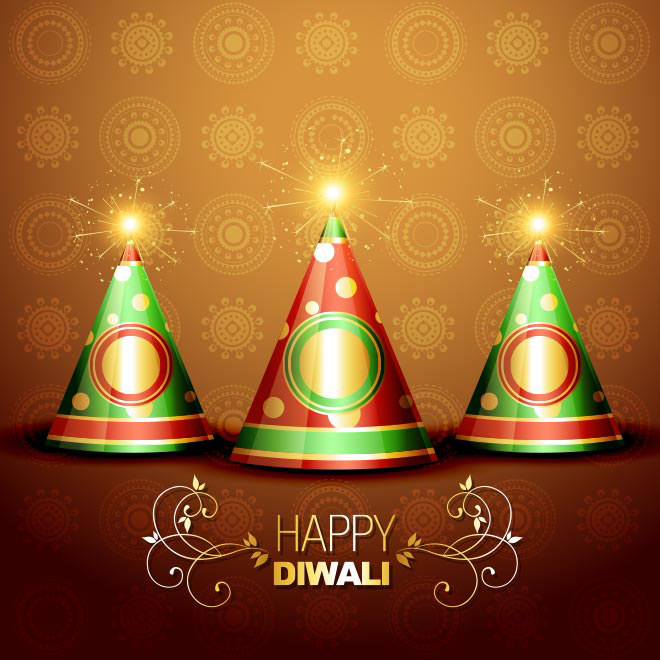 Free Vector Happy Diwali Typography with Fire crackers greeting card illustration