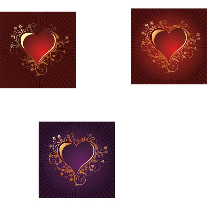 Free Vector Valentine Vintage Heart frame Set illustration