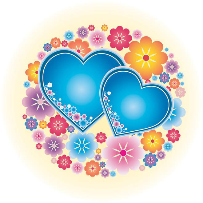 Free Vector valentine blue love heart card illustration