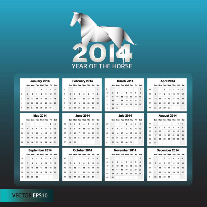 Free vector 2014 Year of the Horse calendar illustration