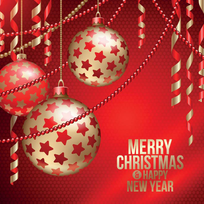 Free vector Red Merry Christmas and Happy New year poster illustration