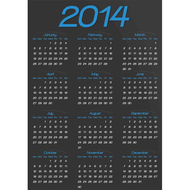 Free vector black 2014 calendar template illustration