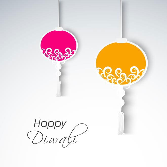 Free vector hanging decorative floral lamp happy Diwali card illustration