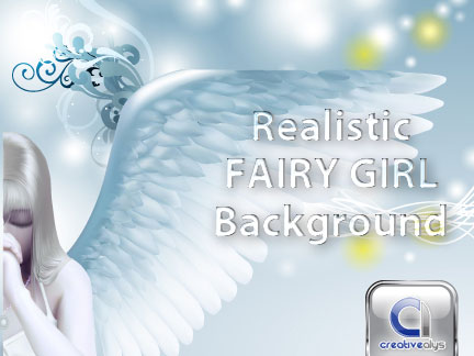 Girl Vector Fairy with Creative Background illustration