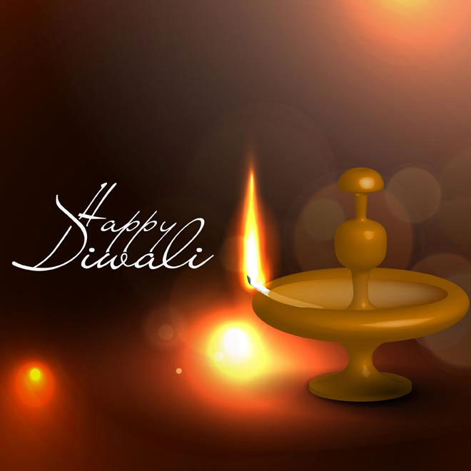 Happy Diwali lamp flame on red background Free Vector illustration