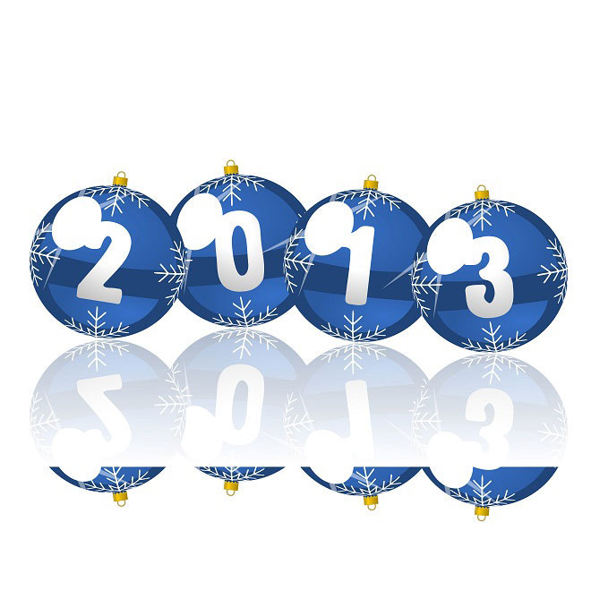Happy New year 2013 snowflake balls Reflection Vector illustration