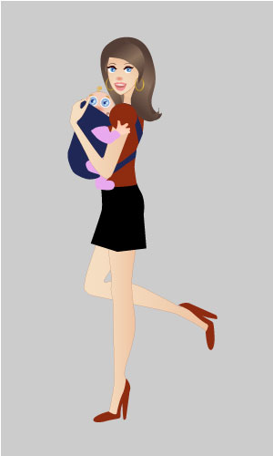 Hip Mommy With Baby Vector  illustration