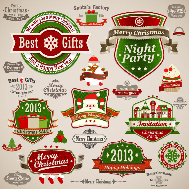 Merry Christmas and new year Vintage ornamenets and decoration collection Vector illustration