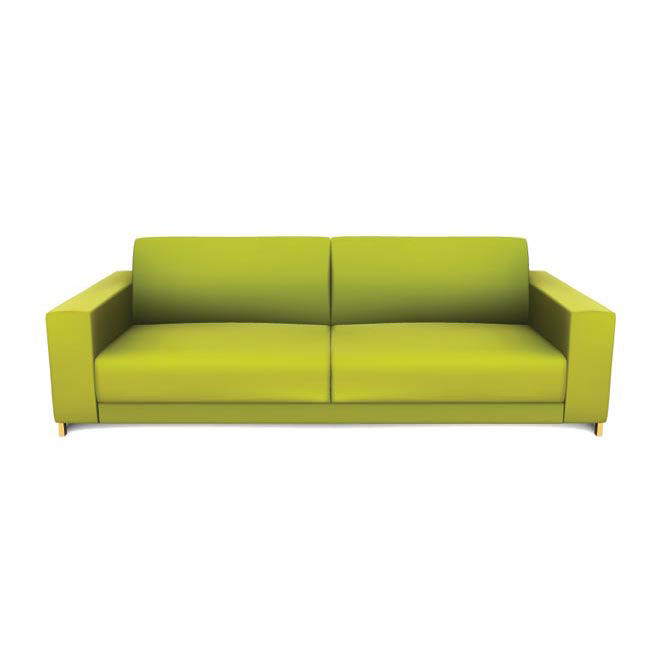 Modern green sofa isolated on white Vector illustration