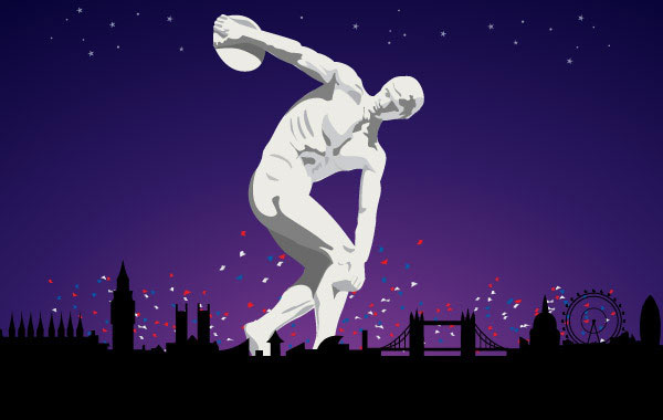 Olympic Discobolus in London 2012 illustration