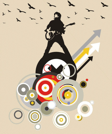 Playing the guitar Vector illustration