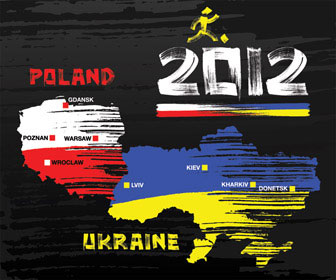 Poland and Ukraine Euro 2012 Map Vector illustration
