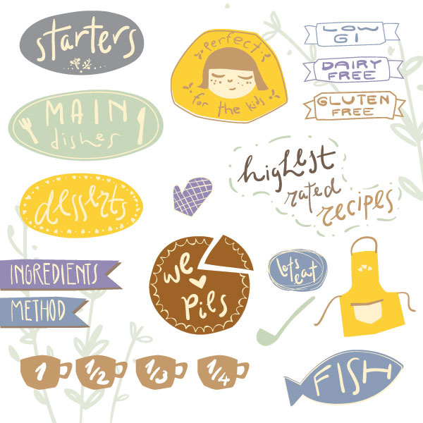 Recipe Stickers 2 Vector Illustration