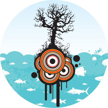 Sea life and a tree Vector illustration
