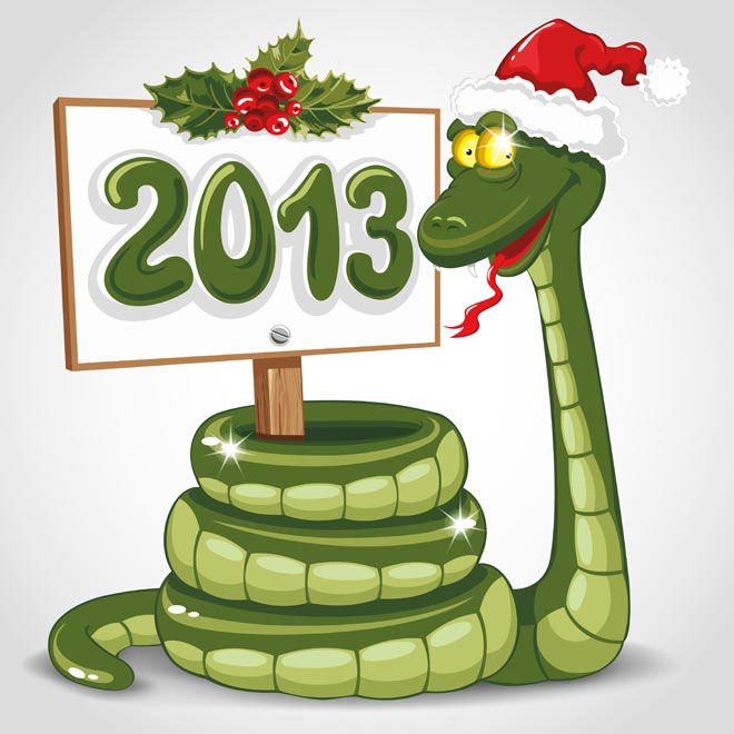 Smiling snake with 2013 board Vector illustration