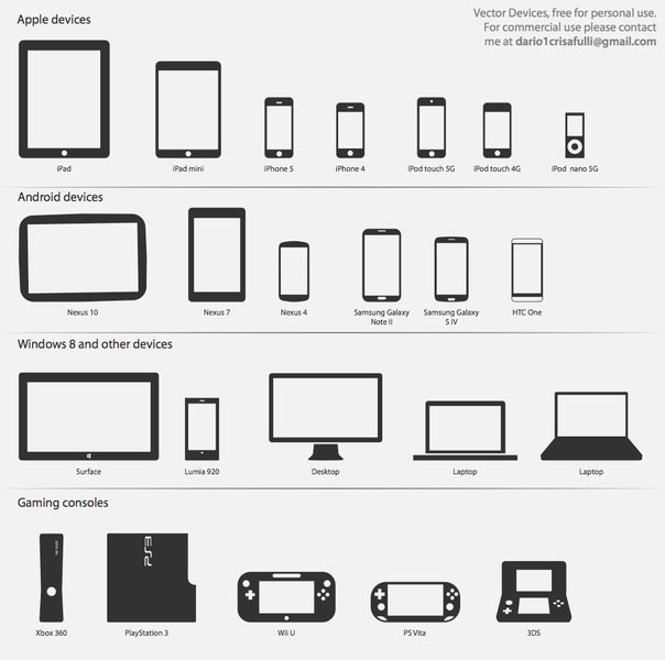 Technology Vector Icons  devices and consoles illustration