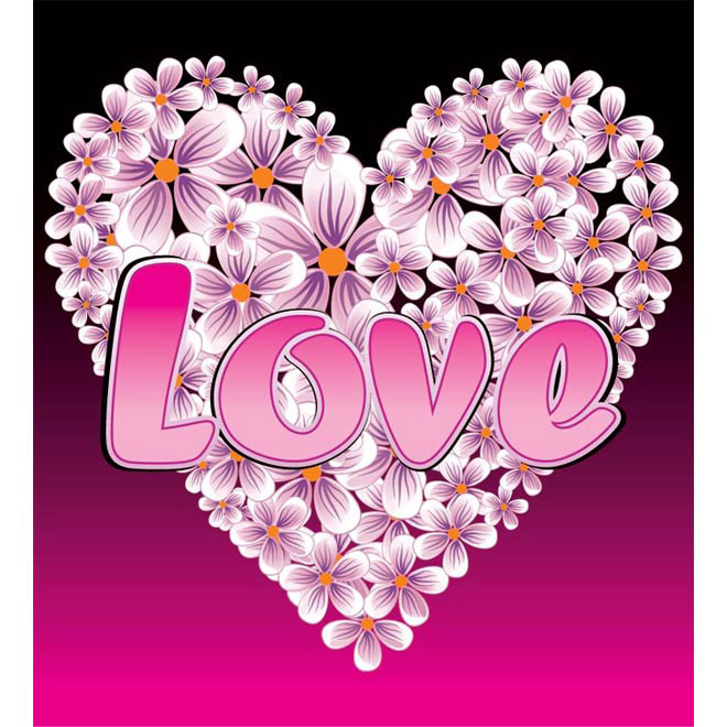 Valentine day love Flower heart with text Vector illustration