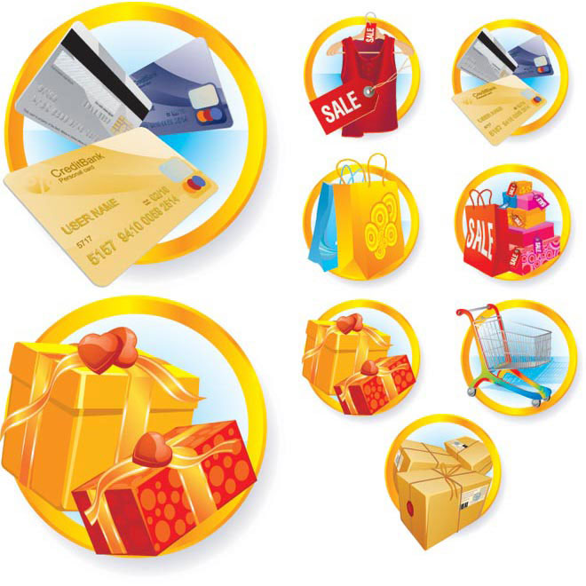 Vector 3d glossy shopping icon set illustration