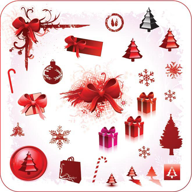 Vector Beautiful red Christmas poster design elements illustration