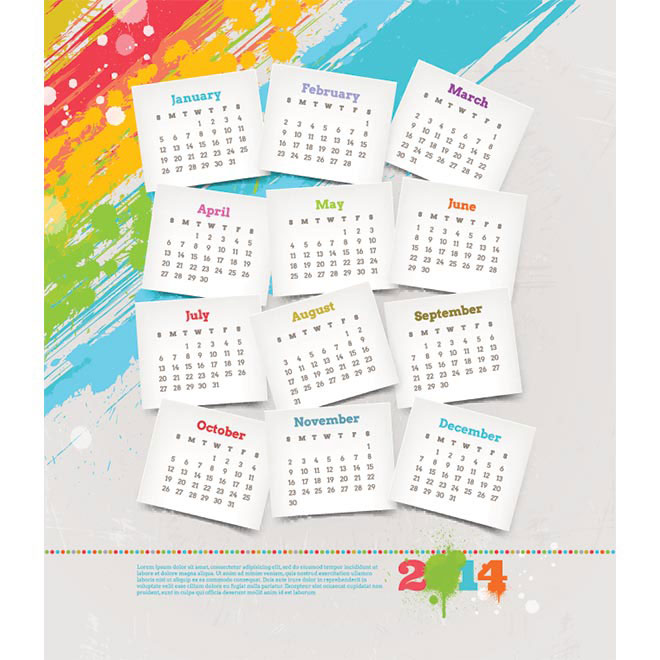 Vector Beautiful sticky note 2014 calendar on grunge background illustration