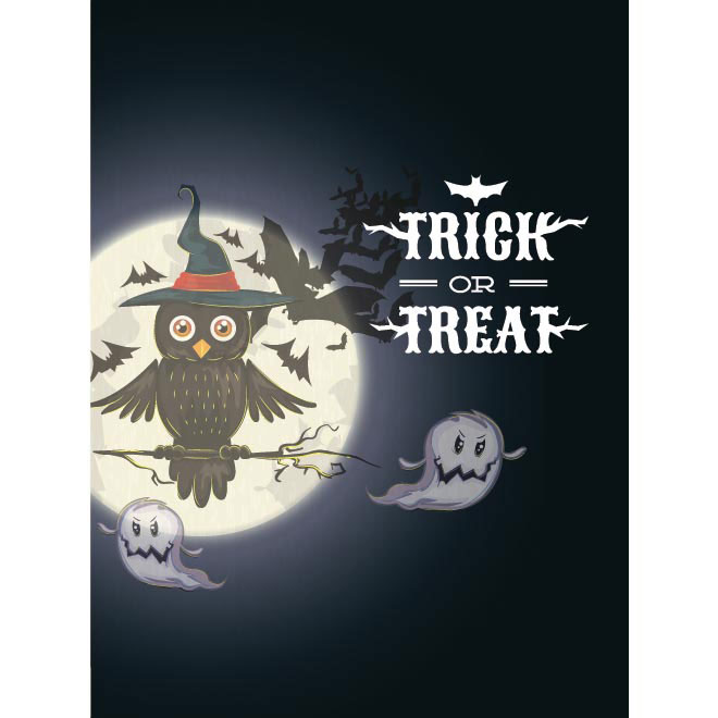 Vector Big owl sitting on tree Happy Halloween poster design illustration