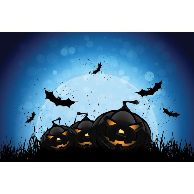 Vector Black Pumpkin with bats Halloween party template illustration