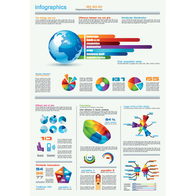 Vector Different Pie chart dashboard infographics design elements illustration