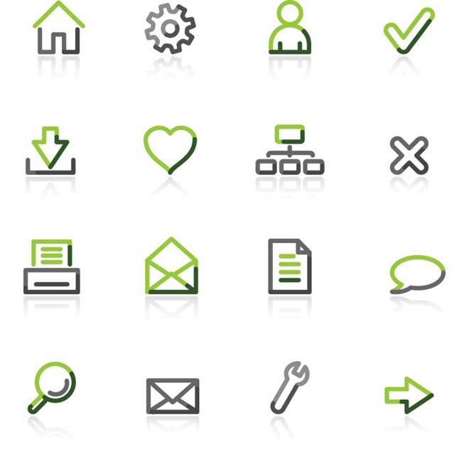 Vector Gray Green glossy flat web icon set illustration