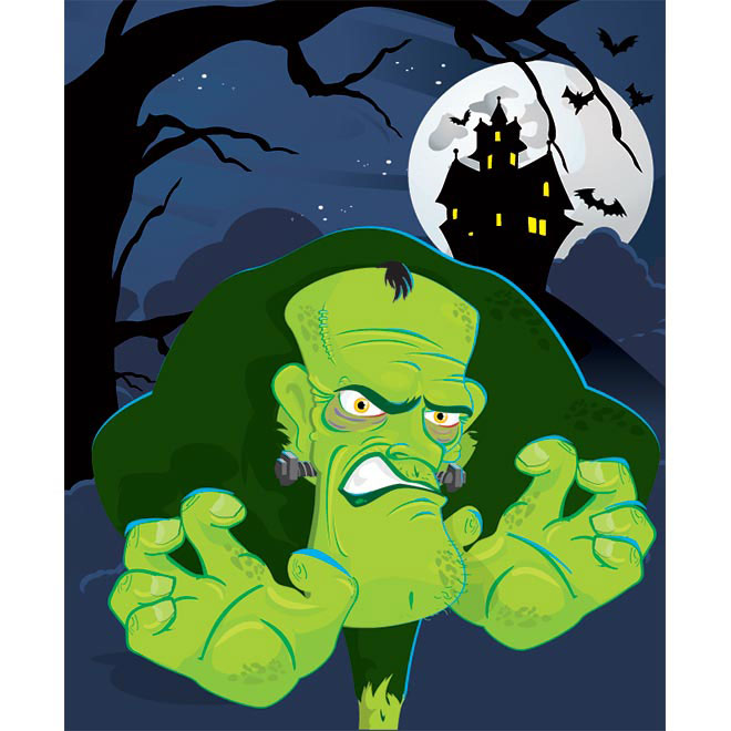 Vector Green cartoon Character Halloween Template illustration