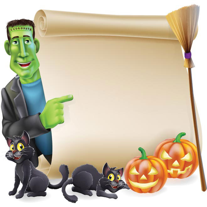 Vector Halloween Green character with peeping round a scroll banner illustration