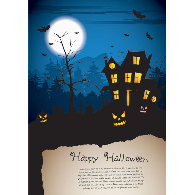 Vector Halloween poster template with empty grunge paper illustration