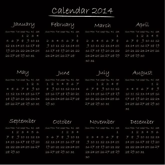 Vector Hand writing Calendar 2014 illustration