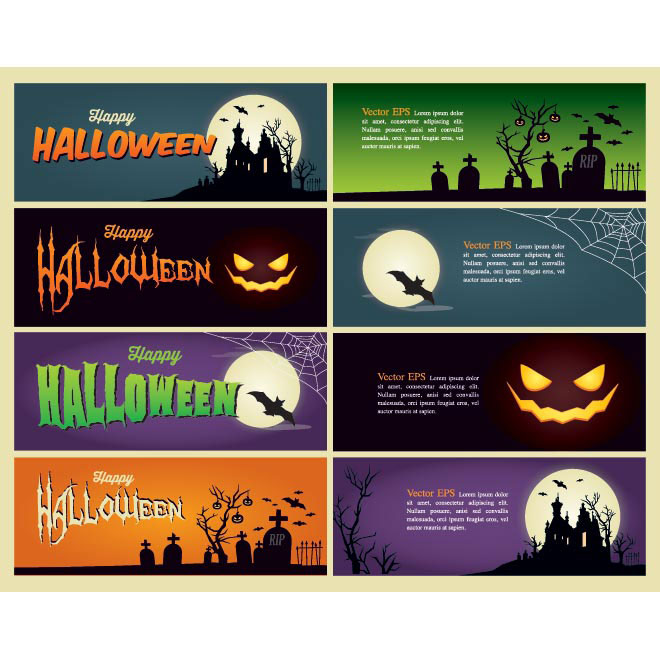 Vector Happy Halloween retro style 8 banner set illustration