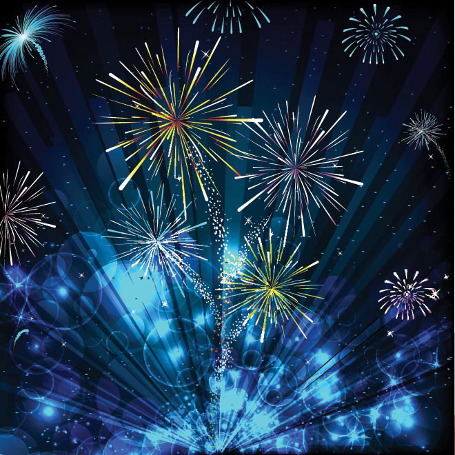 Vector Happy New Year 2014 fireworks illustration