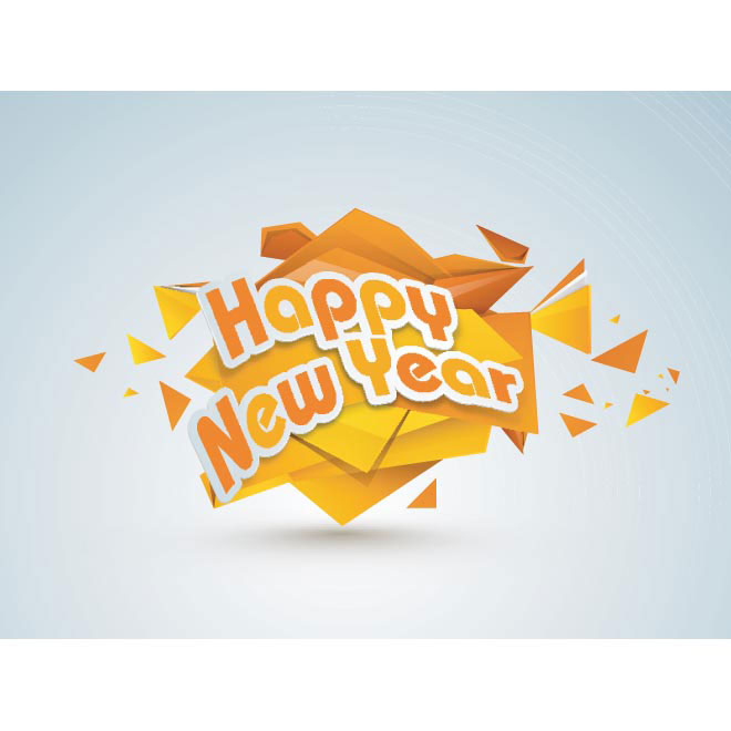 Vector Happy New year 2014 paper cutting abstract background illustration