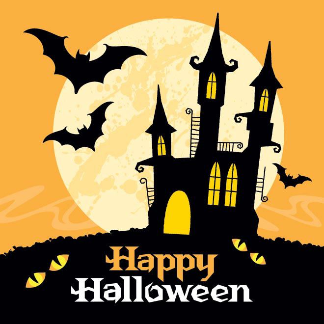 Vector Hunted castle under the big moon Happy Halloween Card template illustration